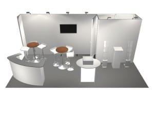 Panoramic 10' x 20' rental display with furniture